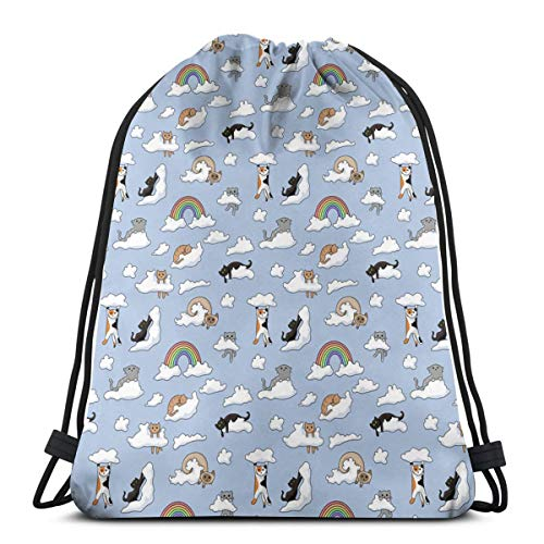 UPLC Cloud Cats Amber Hooper Drawstring Bag Bundle Backpack for Sport Yoga Runner Gym Workout