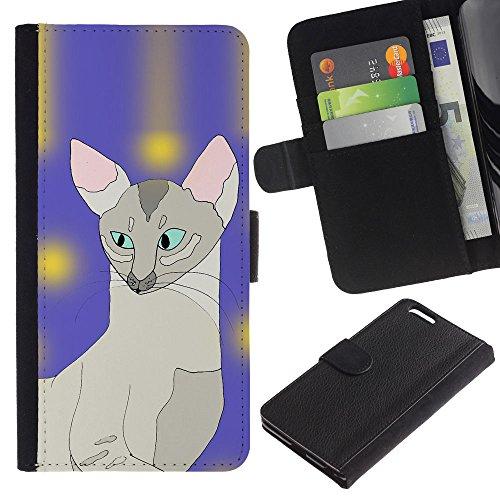 EuroCase - Apple Iphone 6 PLUS 5.5 - sphynx art cat painting javanese blue - Cuero PU Delgado caso cubierta Shell Armor Funda Case Cover