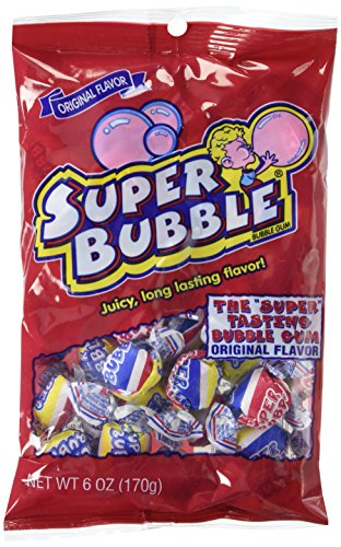 Super Bubble Bubble Gum, Fruit, 6 Ounce Bag