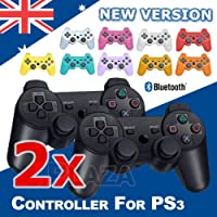 Scenic 2 x BLACK Wireless Bluetooth Controller for Sony PS3 Playtation 3 + USB Cable