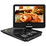 """Electronics : APEMAN 9.5"""" Portable DVD Player with Swivel Screen Support SD card USB CD DVD AV Input/Output Earphone Speaker Port 5 Hours Built-in Rechargeable Battery Remote Control for TV Kids Car"""