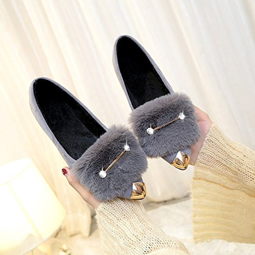 five invierno de zapatos de el Señoras Donyyyy de damas Thirty otoño baja lado terciopelo e fondo plano y zapatos 7HUw1qx