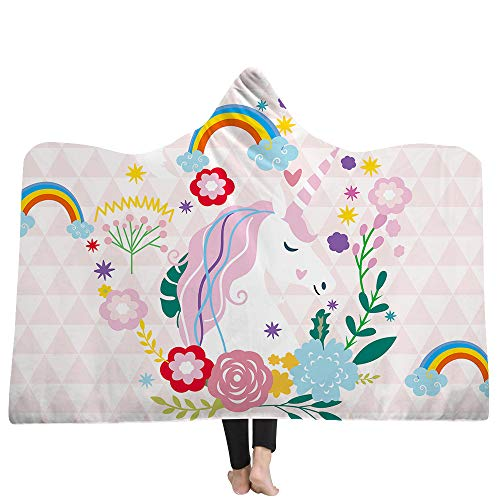 (Prula Unicorn Hooded Blanket Teen Girls Blue Stars Hoodie Blanket Kids Sherpa Fleece Blanket Cozy Magic Cloak (51