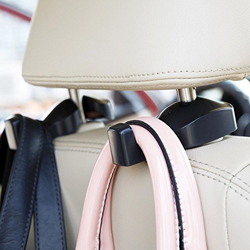 IPELY Universal Car Vehicle Back Seat Headrest Hanger Holder Hook for Bag Purse Cloth Grocery (Black -Set of 2) (Car Window Organizer)