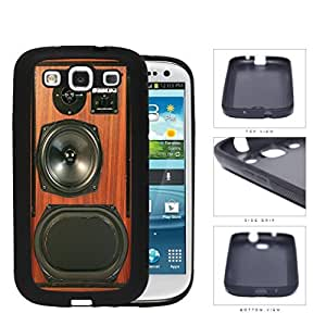 Retro Brown Wood Speakerbox Rubber Silicone TPU Cell Phone Case Samsung Galaxy S3 SIII I9300