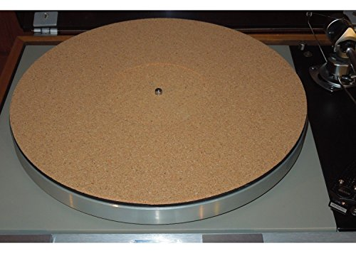 Cork 2mm Turntable Record Mat with record Label recess in the center