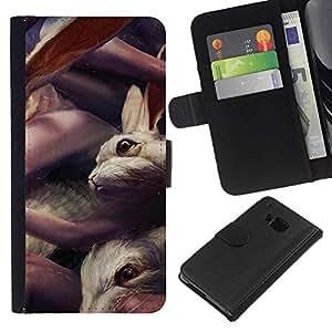 """A-type (Conejos lindos"""") Colorida Impresión Funda Cuero Monedero Caja Bolsa Cubierta Caja Piel Card Slots Para HTC One M9"""