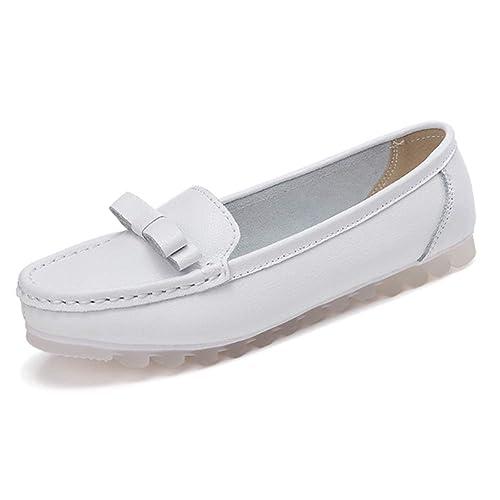Tenthree Zapatos para Mujer Náuticos - Mocasines Punta Redonda Plano Oxford Suave Suela Cuero Bombas Oficina El Trabajo Casual Zapatos de Conducir: ...