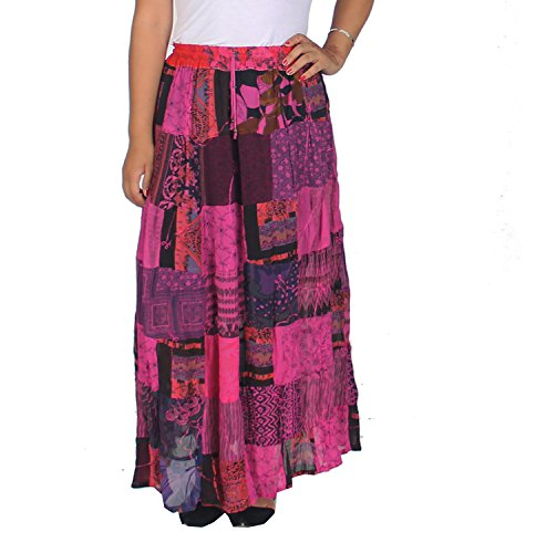 KayJayStyles Women's Hippie Bohemian Gypsy Vintage Ethnic Patchwork Long Skirt (Pink) ()