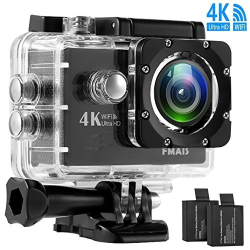 4K Sport Action Camera FMAIS Ultra HD 16MP DV Camcorder WiFi 30M Waterproof 2.0 Inch LCD Screen 170 Degree Wide View Angle with 28 Accessories Kits(Included 2 Rechargeable Batteries 900mAh)
