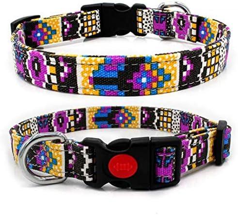 Nandana Collar de Perro Ajustable para Mascotas - Amarillo y Morado - Talla S 2