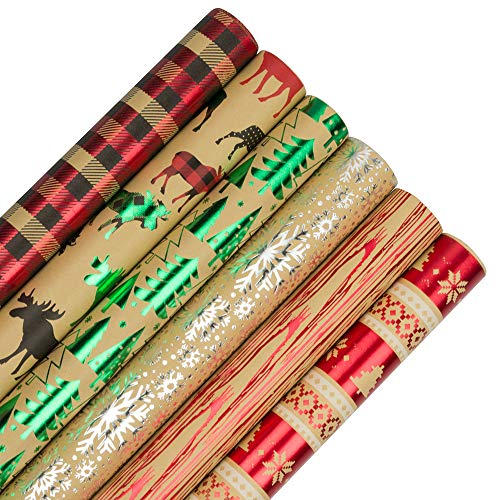 JAM PAPER Assorted Gift Wrap - Christmas Wrapping Paper - 90 Sq Ft Total - Woodland Christmas Set - 6 Rolls/Pack