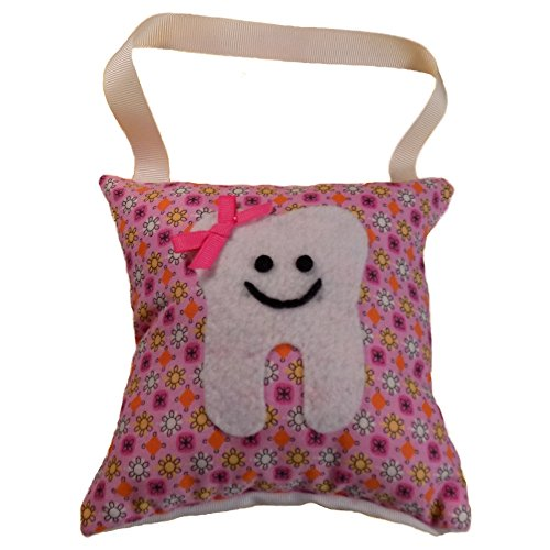 - Tooth Fairy Pillow Keepsake, Girl's Flowers and Dots Design Print - Pink, Yellow, Tangerine