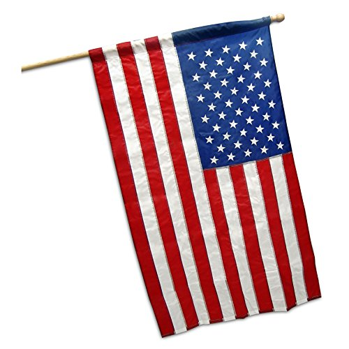 G128 - American USA US Flag 2.5x4 Ft Embroidered Stars Sewn Stripes 210D Quality Oxford Nylon with Pole Sleeve