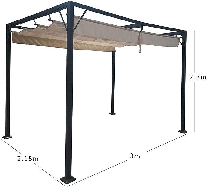 AIRWAVE Manhattan - Cenador con Techo retráctil y toldo (3 x 3 m, para jardín, Patio, Fiesta, Barbacoa), Color Beige: Amazon.es: Jardín