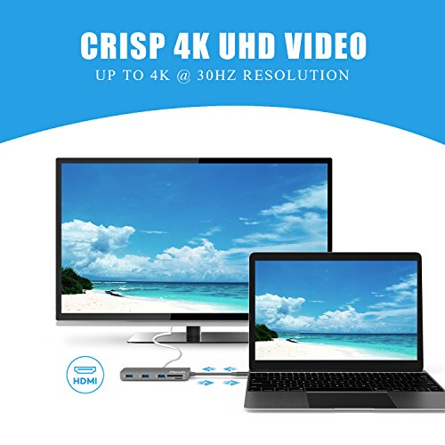 Elando USB-C Hub, Aluminum USB Type-C Hub with 4K HDMI, USB-C Power Delivery, USB 3.0, USB 2.0, Audio Jack and SD/TF Card Reader for MacBook Pro 2017 and Type-C Laptops by Elando (Image #5)