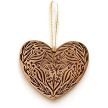 Floral Heart Laser Cut Wood Ornament (Christmas / Holiday / Anniversary / Newlyweds / Keepsake)