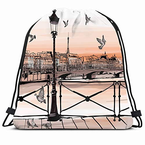 Ahawoso Gym Drawstring Bags Backpack String Bag 14X16 Watercolor France Sunset On Seine River Pont Retro Des Paris Sketch City Romance Man Medieval Louvre Sport Sackpack Hiking Yoga Travel Beach (Planning A Romantic Evening For A Man)
