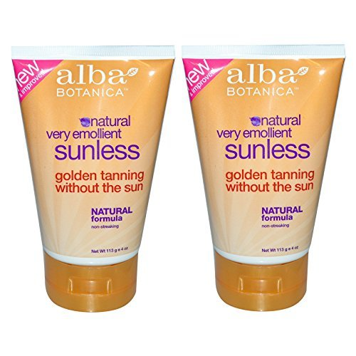 Alba Botanica Natural Very Emollient Sunless Tanning Lotion with Natural Formula, 4 oz. (113 g) (Pack of 2) - Alba Tan Tanning Lotion