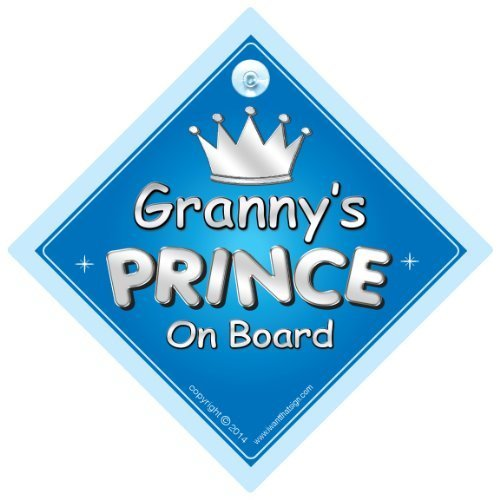 Prince car sign Gran Baby On Board Sign,Baby on board Baby Car Sign Grannys Prince On Board Car Sign Car Sign Novelty Car Sign 716 Granny Prince On Board