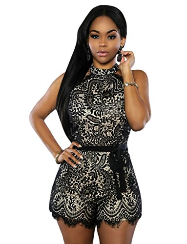 Kearia Womens Sexy Sleeveless Jumpsuit Lace Overlay Slim Romper Playsuit With Belt Black Medium (Lace Sexy Pants)