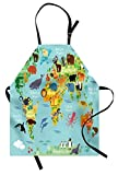 Ambesonne Wanderlust Apron, Animal Map of the World for Children Kids Cartoon Mountains Forests, Unisex Kitchen Bib Apron with Adjustable Neck for Cooking Baking Gardening, Pale Blue Yellow Green