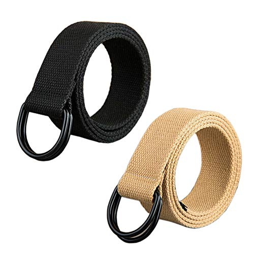 ITIEZY 2 Pcs Canvas Web Belt with Black Double D-Ring Buckle Military Striped Belts for -