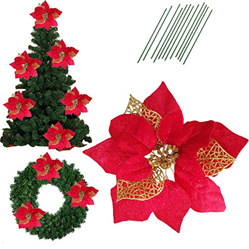 Christmas Poinsettia Flower - 8.6 Inch Glitter Artifical Wedding Christmas Flowers Glitter Poinsettia Christmas Tree Ornaments Christmas Tree Decorations Pack of 12 (Red)