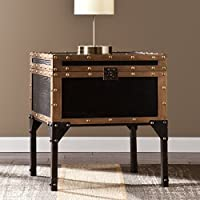 Tari Antique Black And Dark Antique Bronze Tralvel Trunk End Table