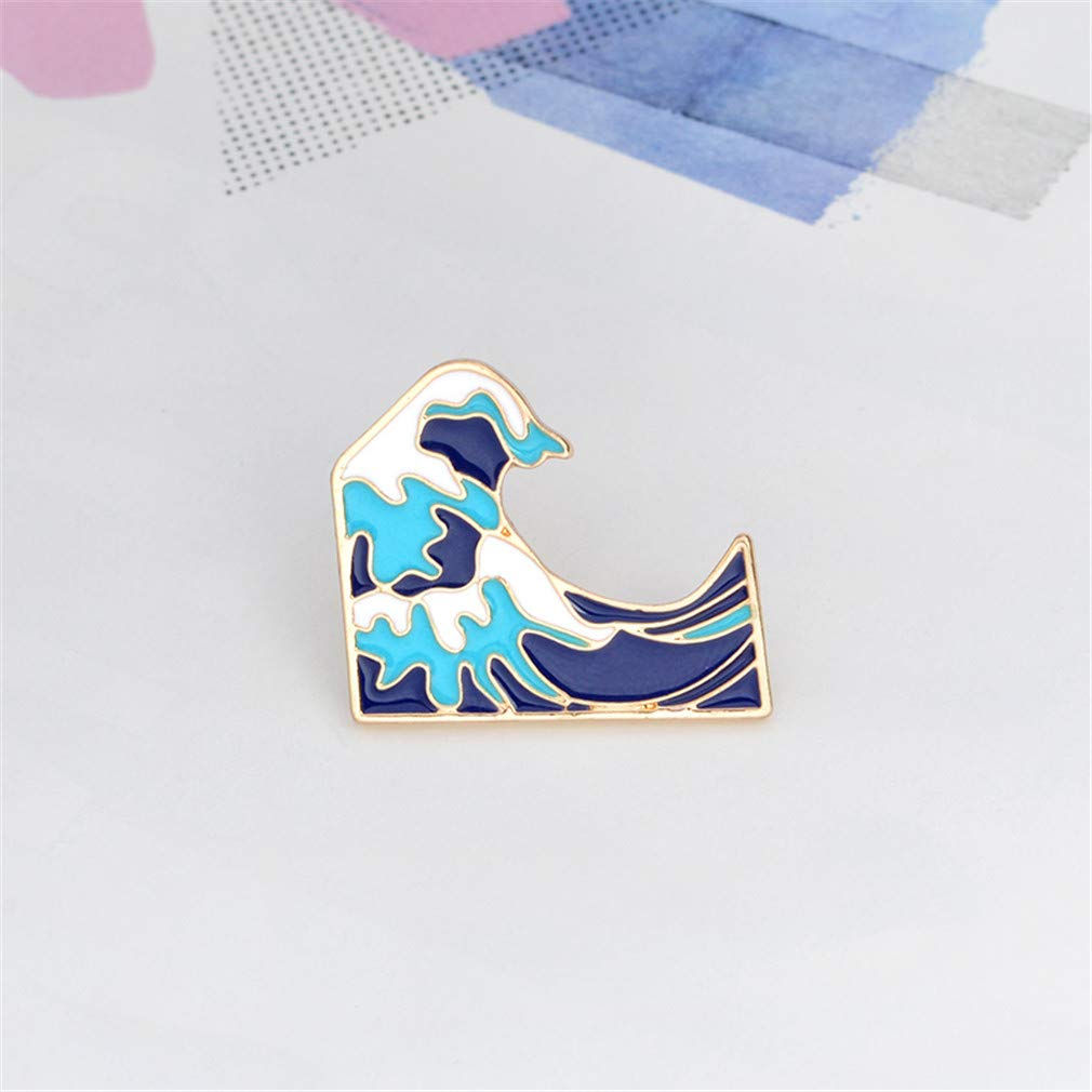 Dolland Blue Waves Brooch Pin Enamel Metal Buckle Cartoon Brooch Denim Jacket Pin Badge Jewelry