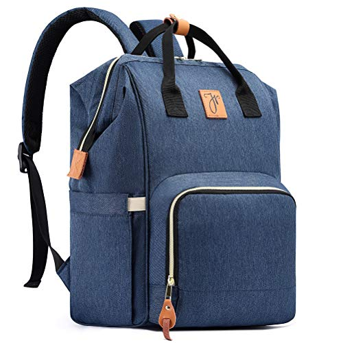 HaloVa Diaper Bag Multi-Functional Portable Travel Backpack Nappy Bags for Baby Care, Water-resistant, Large Capacity, Stylish and Durable Leather Tag, Dark Blue