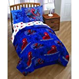 5pc Boys Spiderman Theme Comforter Twin, Science Fiction Movies Character Bedding, Fun Kids Space Fight, Superheroes Graphic Cartoon Comic Pattern (Twin)