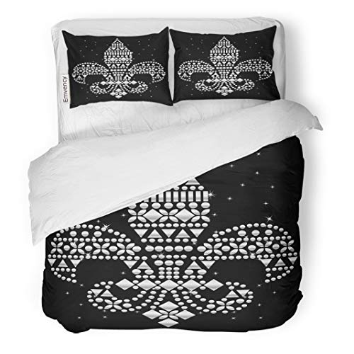 Semtomn Decor Duvet Cover Set King Size Rhinestone Applique Crystal Studs Embellishment for Beautiful Fleur De 3 Piece Brushed Microfiber Fabric Print Bedding Set Cover
