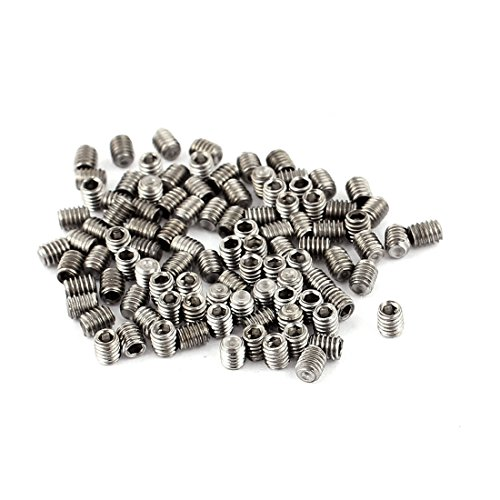 uxcell 100Pcs M2.5 x 3mm Stainless Steel Hex Socket Set Grub Screws Headless Cup Point