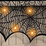 decorating fireplace mantels Decorating Halloween - Black Spider Fireplace Curtain Mantel Scarf Halloween Decorations Cobweb Lace Party 188 90cm - Skull Decorative Theater Beachy Halloween Decorating Decor Decorations Home
