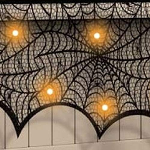 Decorating Halloween - Black Spider Fireplace Curtain Mantel Scarf Halloween Decorations Cobweb Lace Party 188 90cm - Skull Decorative Theater Beachy Halloween Decorating Decor Decorations Home