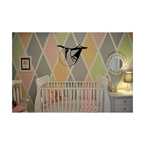 (2X) Nursery Series Sloth Hanging Sticker For Cribs, Walls, Dressers, And More! (Black) -