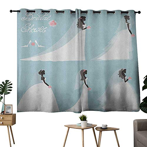 NUOMANAN Decor Curtains by Bridal Shower,Fashion Design Traditional Wedding Bride Dress with Flowers, Baby Blue White and Black,Pocket Thermal Insulated Tie Up Curtain 42