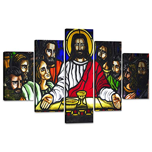 - Yatsen Bridge The Last Supper Wall Art 5 Panels Christendom Christianity Canvas Painting Stained Glass of The Last Supper Pictures Posters and Prints Artwork Home Decor for Living Room (60''Wx40''H)
