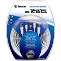 Swann SWADS-15MBNC-GL  Swann Video and 50-Feet  Power BNC Cable  for CCTV Camera (White)