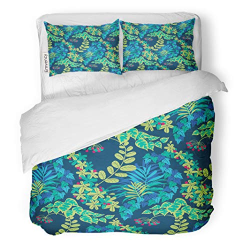 Semtomn Decor Duvet Cover Set Twin Size Abstract Colorful Green Blue Navy Jungle Foliage Pattern Aquamarine 3 Piece Brushed Microfiber Fabric Print Bedding Set Cover