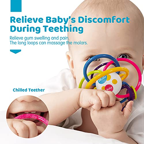 Baby Teething Toys for Babies 0-6-12 Months, Baby Rattle Sensory Teether Toy 3-6 Months Teethers for Babies 0-6 Months Baby Sensory Infant Toys for Newborn Baby