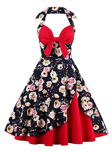 Petticoat Dress (Adreamly Women's 1950's Classic Halter Black Floral Sleeveless Vintage Cocktail Swing Dress Red Large)