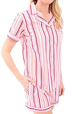 Alexander Del Rossa Woven Cotton Striped Short Sleeved Pajama Set with Shorts, 100% Cotton Pjs
