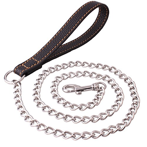 Strong Stainless Steel Welding Chain Durable Dog Leash Walking Training Leads for Pitbull German (Medium Link Necklace)