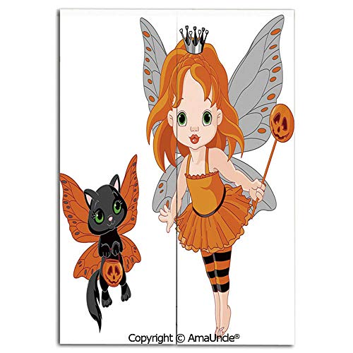 Cute Doorway Curtain Screen,Modern Room Divider Curtain,Halloween Baby Fairy and Her Cat in Costumes Butterflies Girls Kids Room Decor Decorative(31.5x47.2 Inches),Hanging Curtain for Bedroom Living R -