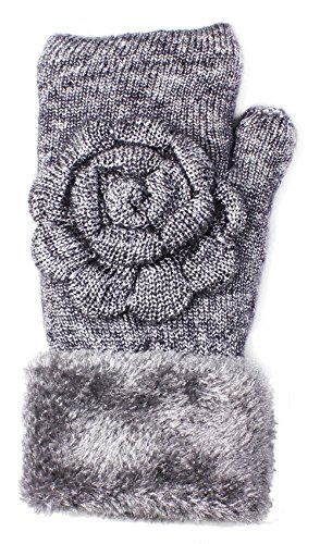 LL- Womens Winter Knit Fingerless Fashion Gloves Fleece Lined Assorted Patterns and Colors (Silver Rose Metallic) (Silver Lined Rose)