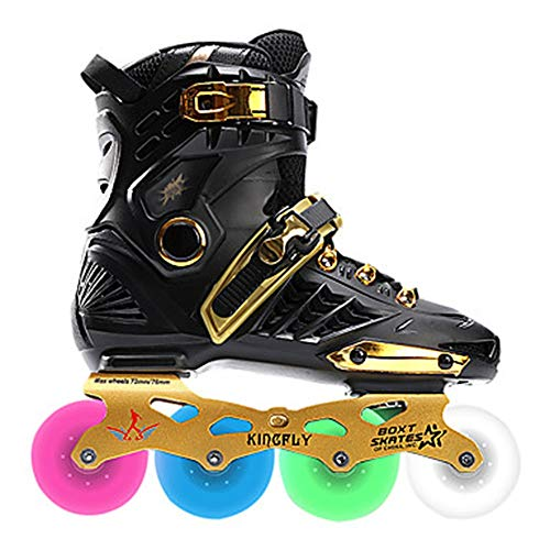 MQW Men's/Women's Inline Skates Adult Wearable LED Lights Flashing Thick Alloy Roller Skates - Gold Breathable Shock Absorption (Color : -