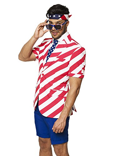 (OppoSuits USA Flag Suits - Pants, Jacket, Tie with Free Sunglasses & Bandana - 4th of July Outfit)