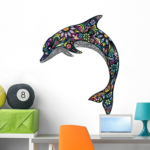 Wallmonkeys Cheerful Dolphin Wall Decal Peel and Stick Graphic WM216986 (36 in H x 28 in W)